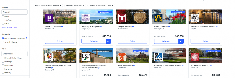 RaiseMe College Search Portal