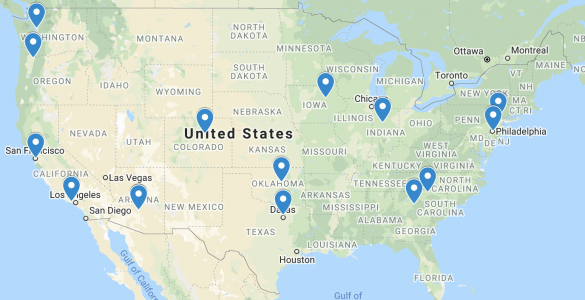 RaiseMe team's home base locations